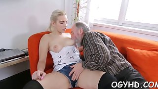 horny old dude teases young babe