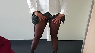 schoolgirl alysha, upskirt flashing in pantyhose & heels