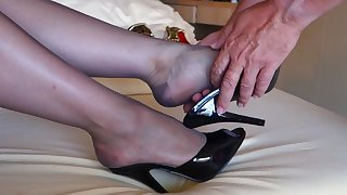 feet in nylon - video 34