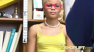 kinky arie faye gives head to mall cop after shoplifting in the store