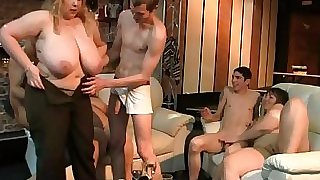 Fat platinum-blonde rides and sucks cock at party